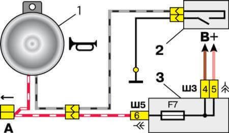 Схема подключения звукового сигнала 2110