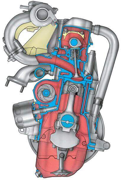 Поперечный разрез двигателя мод. 2111