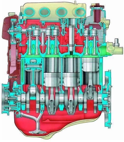 Продольный разрез двигателя мод. 2112