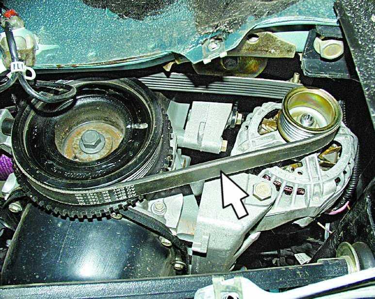 Проверка натяжения ремня привода генератора 2110 и его замена